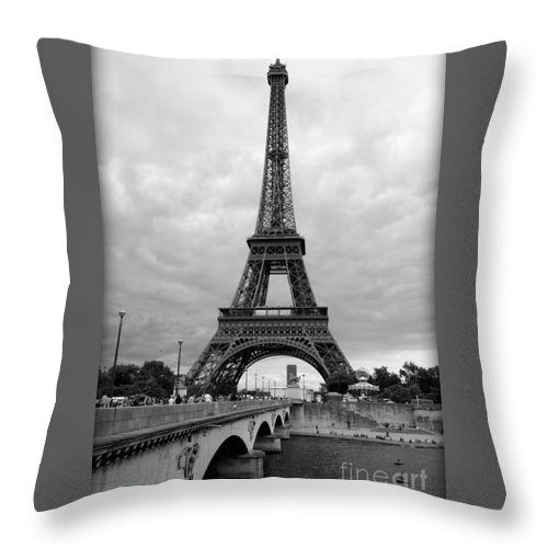 Architecture Throw Pillow featuring the photograph Summer Storm Over The Eiffel Tower by Carol Groenen