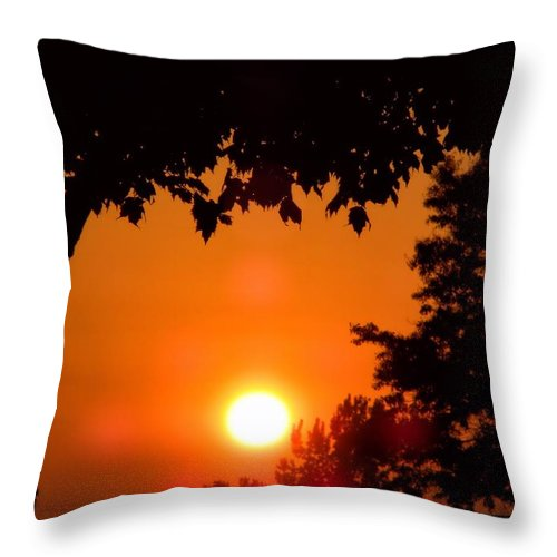 Sun Throw Pillow featuring the photograph Summer Sunrise Right Side by Thomas Woolworth