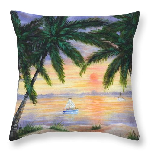 Seascape Throw Pillow featuring the painting Summer Sunset by Ruth Bares