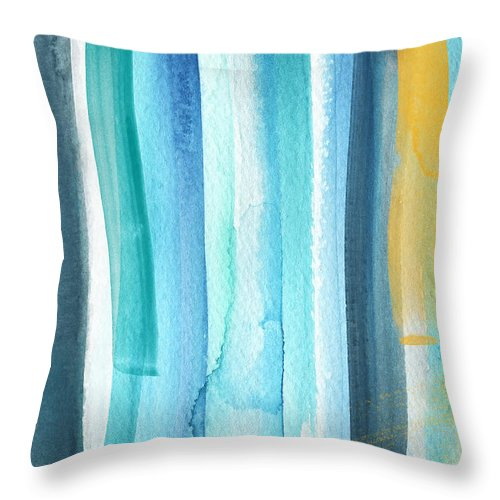 Water Throw Pillow featuring the painting Summer Surf- Abstract Painting by Linda Woods