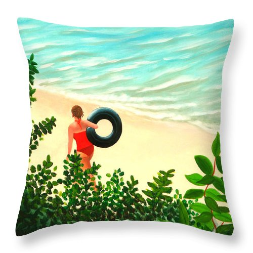 Summer Throw Pillow featuring the painting Summer Swim by Liz Boston