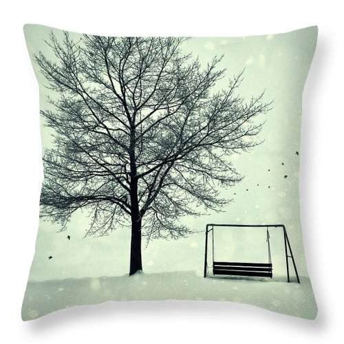 Atmosphere Throw Pillow featuring the photograph Summer Swing Abandoned In Snow Beside Tree by Sandra Cunningham