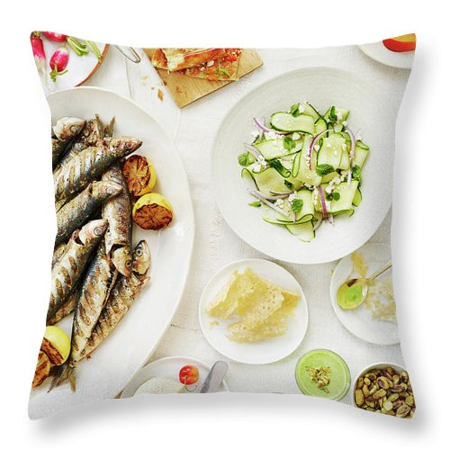 Cherry Throw Pillow featuring the photograph Summer Table Spread by Alexandra Grablewski