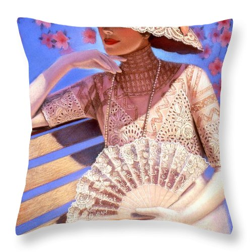 Woman Throw Pillow featuring the painting Summer Time by Sue Halstenberg