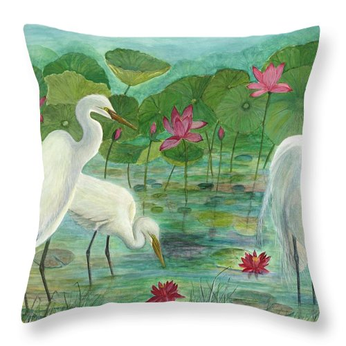 Lily Pads; Egrets; Low Country Throw Pillow featuring the painting Summer Trilogy by Ben Kiger