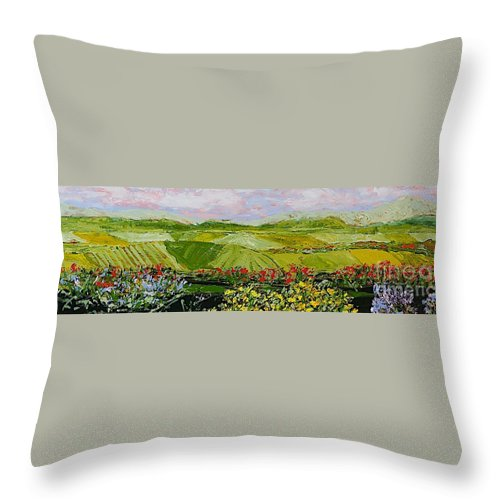 Landscape Throw Pillow featuring the painting Summer Valley by Allan P Friedlander