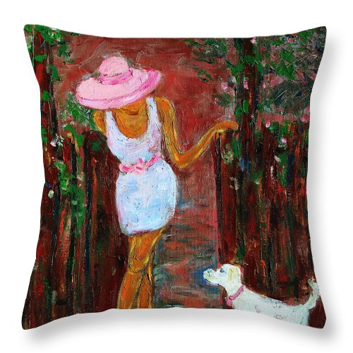 Figurative Throw Pillow featuring the painting Summer Visitor by Xueling Zou