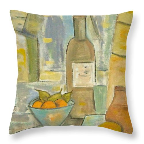 Still Life Throw Pillow featuring the painting Summer Wine by Trish Toro
