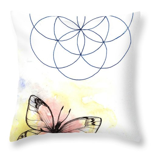 Butterfly Throw Pillow featuring the drawing Summerbird by Freja Friborg
