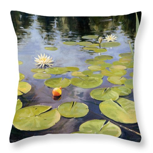 Lily Throw Pillow featuring the painting Summers End by Steven A Simpson