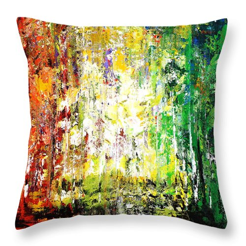 Forest Throw Pillow featuring the mixed media Summertime 3 by Kume Bryant