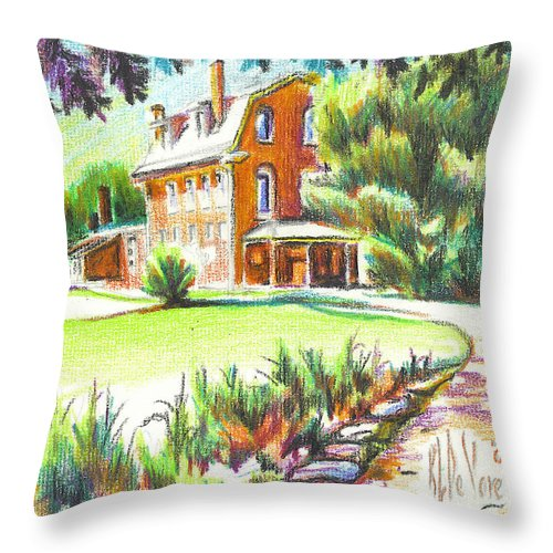 Summertime At Ursuline No C101 Throw Pillow featuring the painting Summertime At Ursuline No C101 by Kip DeVore