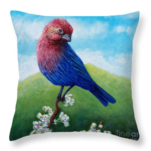 Bird Throw Pillow featuring the painting Summertime by Brian Commerford