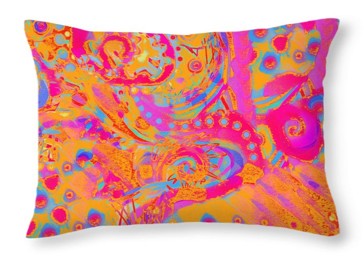 Bright Colorful Abstract Artwork Cheerful And Light Hearted Throw Pillow featuring the painting Summertime by Expressionistart studio Priscilla Batzell