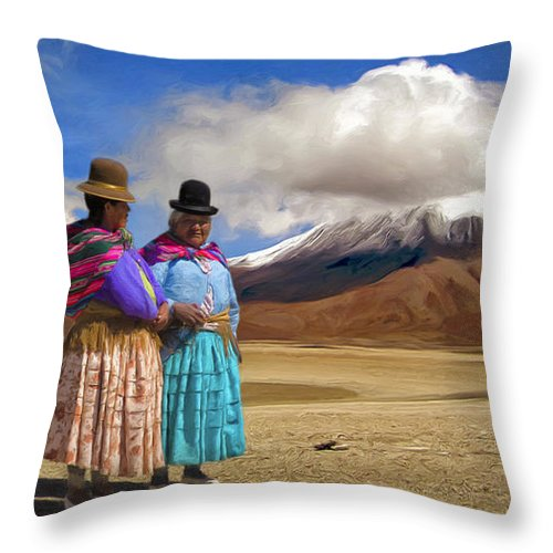 Two Women Throw Pillow featuring the painting Summit Conference by Dominic Piperata