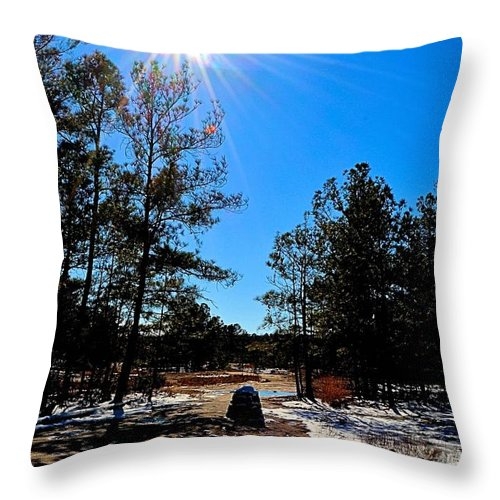 Sun Throw Pillow featuring the photograph Sun And Cairn by James Potts