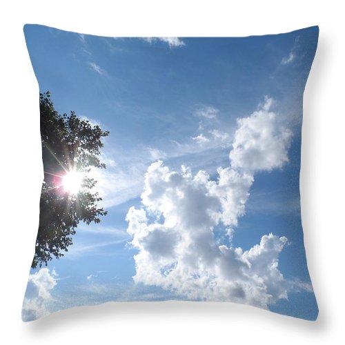 Sky Throw Pillow featuring the photograph Sun And Cloudburst by James Potts