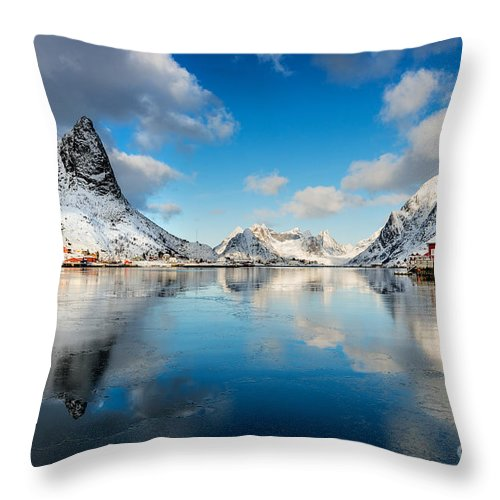 2013 Throw Pillow featuring the photograph Sun And Ice Reinefjord by Richard Burdon