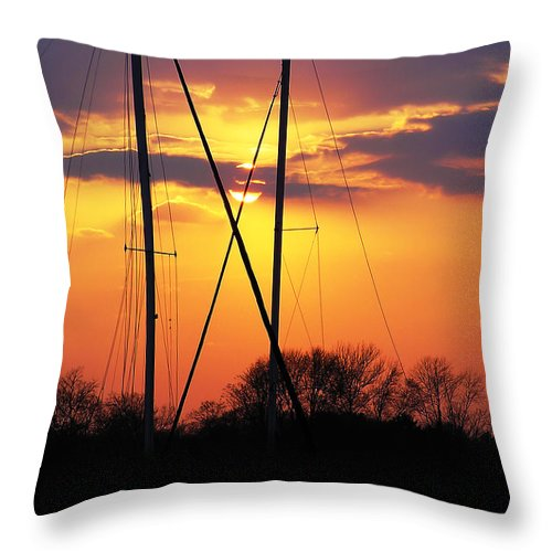 2d Throw Pillow featuring the photograph Sun And Masts by Brian Wallace