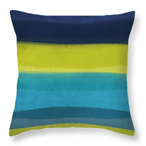 Abstract Throw Pillow featuring the painting Sun And Surf by Linda Woods