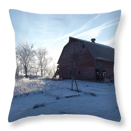 Frost Throw Pillow featuring the photograph Sun Barn by Bonfire Photography