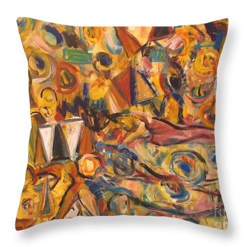 Land Scape Throw Pillow featuring the painting Sun- Bathing Among Yellow Roses by Fereshteh Stoecklein