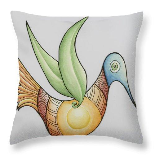 Bird Throw Pillow featuring the mixed media Sun Bird by Susan A Grainger
