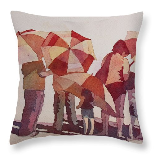 Parasol Throw Pillow featuring the painting Sun Drenched Parasols by Jenny Armitage