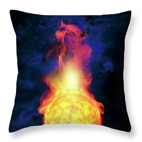 Solar System Throw Pillow featuring the digital art Sun Engulfing The Earth, Artwork by Victor Habbick Visions