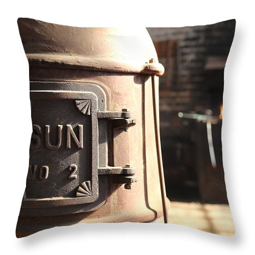 Wood Heater Throw Pillow featuring the photograph Sun No 2 by Pat Williams