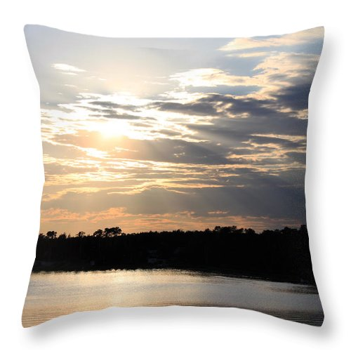 Sun Throw Pillow featuring the photograph Sun Rays by Laurie Pelletier