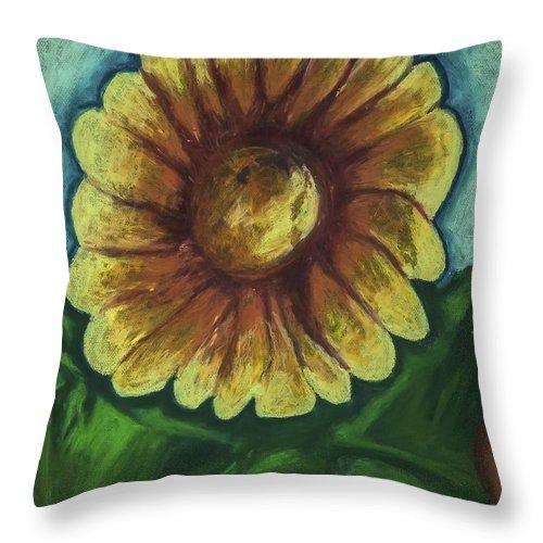 Fresh Flower Throw Pillow featuring the pastel Sun Sensation by Jon Kittleson