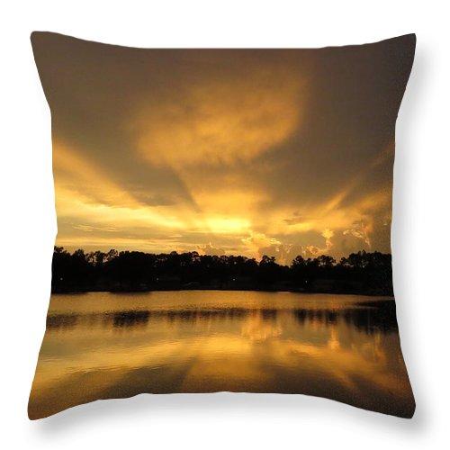 Sunburst Throw Pillow featuring the photograph Sunburst Reflection by Zina Stromberg