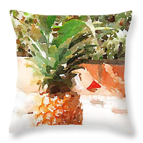 Pineapple Throw Pillow featuring the digital art Sunday Brunch by Shannon Grissom