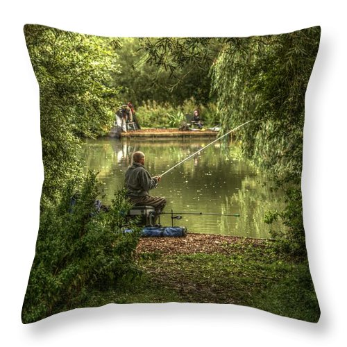 Sunday Fishing Throw Pillow featuring the photograph Sunday Fishing At The Lake by Jeremy Hayden
