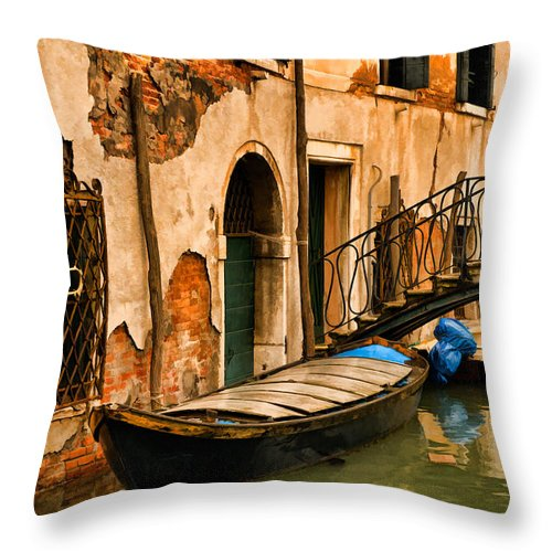 Venice Throw Pillow featuring the digital art Sunday In Venice by Mick Burkey