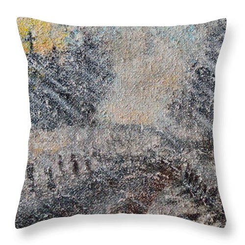 Sunday Throw Pillow featuring the painting Sunday Morning Blizzard by Alys Caviness-Gober