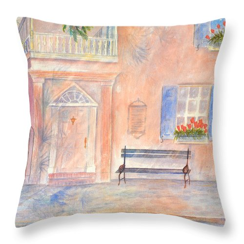 Charleston; Low Country; Palmetto Tree Throw Pillow featuring the painting Sunday Morning In Charleston by Ben Kiger