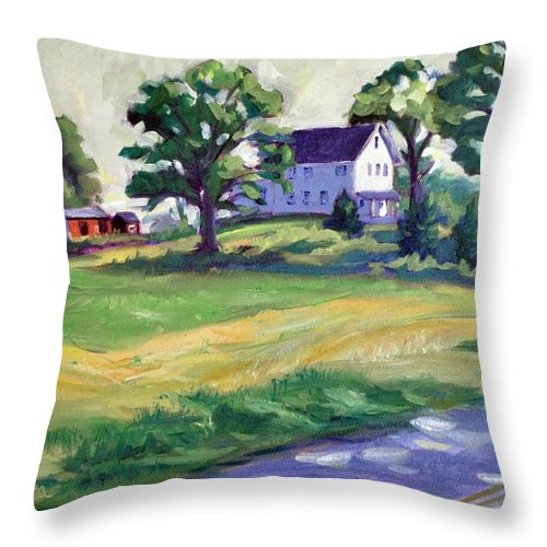 The Wasniewski Farm Throw Pillow featuring the painting Sunday Morning by Sylvina Rollins