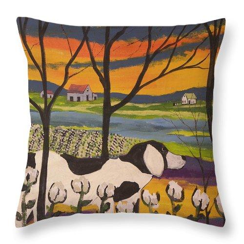 Landscape Throw Pillow featuring the painting Sundown by Ken Blacktop Gentle
