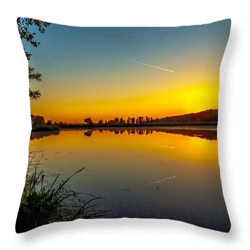 Sundown Throw Pillow featuring the photograph Sundown Water Reflections In Zegrze by Julis Simo
