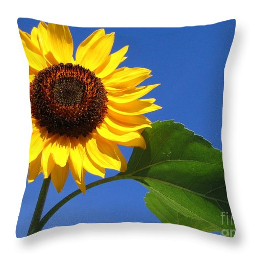 Sunflower Throw Pillow featuring the photograph Sunflower Alone by Line Gagne