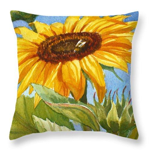 Sunflower Watercolor Print Throw Pillow featuring the painting Sunflower And Honey Bee by Janet Zeh