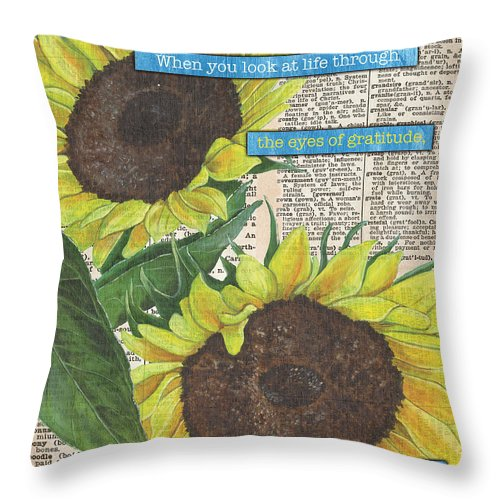 Floral Throw Pillow featuring the painting Sunflower Dictionary 2 by Debbie DeWitt