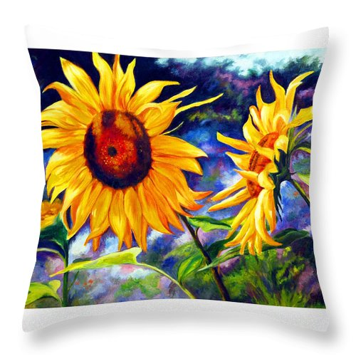 Sunflowers Throw Pillow featuring the painting Sunflower by Gustavo Oliveira