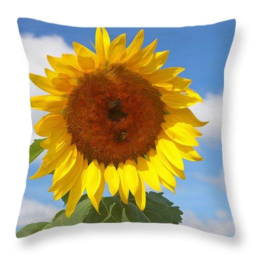 Yellow Throw Pillow featuring the photograph Sunflower Nirvana 30 by Allen Beatty