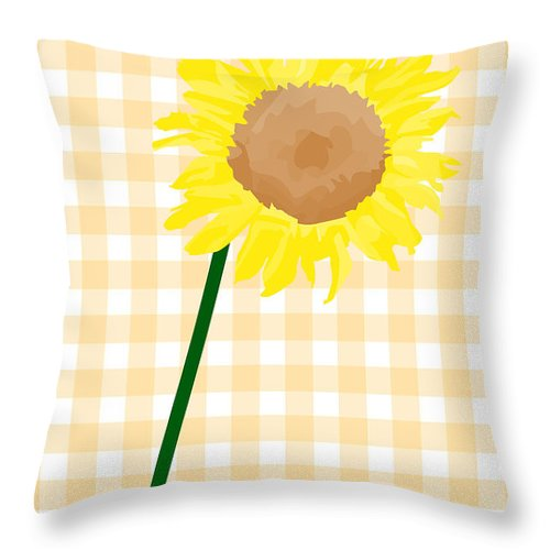 Digital Art Throw Pillow featuring the photograph Sunflower On Yellow Plaid by Tina M Wenger