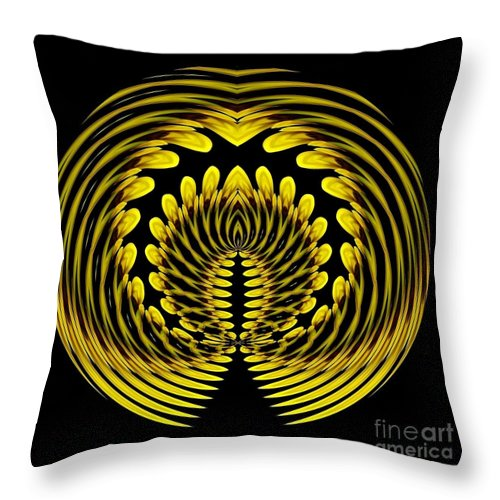 Polar Coordinates Throw Pillow featuring the photograph Sunflower Polar Coordinate Effect 1 by Rose Santuci-Sofranko
