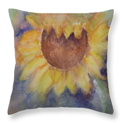 Sunflower Throw Pillow featuring the painting Sunflower Study by Anna Ruzsan