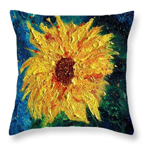 Sunflower Throw Pillow featuring the painting Sunflower - Tribute To Vangogh by Robin Monroe